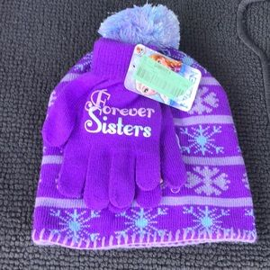 NWT Disney Frozen Forever Sisters Beanie Hat Glove